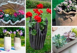 50 неординарных идей для цветочных вазонов из цемента