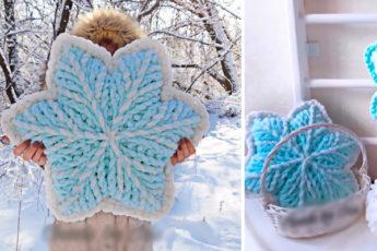 Подушка-снежинка без спиц и крючка из пряжи Alize Puffy