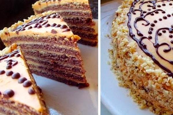 Шоколадный торт со сгущёнкой. Рука сама тянется за очередным кусочком