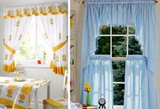 Варианты оформления штор на кухне