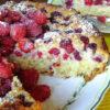 Летний кокосовый пирог с малиной