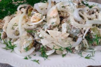Салат без грамма мяса, а по вкусу не отличишь от мясного. Вкуснее чем «Оливье»!