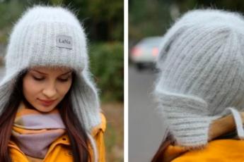 Популярная сейчас и очень тёплая шапка-ушанка. Максимально упрощённая техника вязания спицами