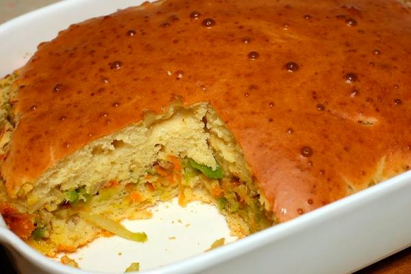 Заливной пирог с капустой. Быстро и вкусно!